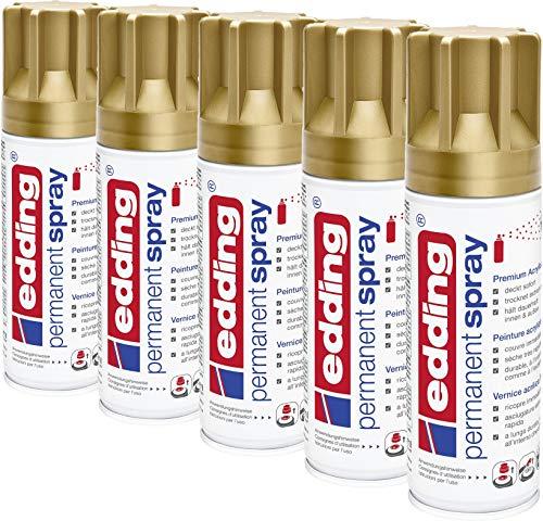 edding 5200 Permanent-Spray - Acryllack zum Lackieren und Dekorieren von Glas, Metall, Holz, Keramik, lackierb. Kunststoff, Leinwand, u. v. m. - Sprühfarbe (Reichgold | 5er Pack)