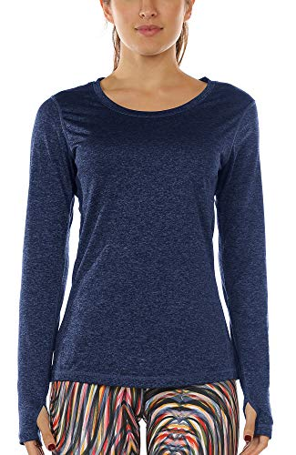 icyzone Damen Laufshirt Sport Training Langarm Shirt mit Daumenloch (Royal Blue, L)