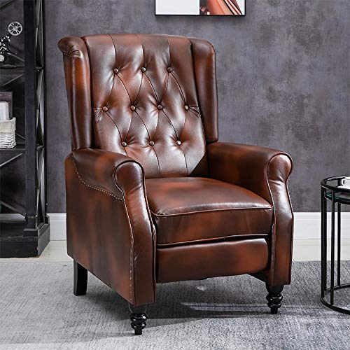 Huisen Furniture Retro Living Room Armchair Recliner Chair Adjustable Brown PU Leather Vintage Single Sofa Chair for Bedroom TV Wingback Tub Chairs with Footrest