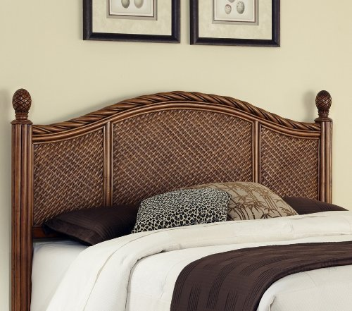 Home Styles Marco Island Cinnamon Queen/Full Headboard Constructed of Natural Rattan Woven Wicker and Wood Solids