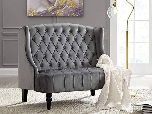 Altrobene Velvet Loveseat, Modern Sofa Couch for Two People, Living Room Bedroom Home Office Recption Chair, Tall Wingback, Tufted Nailhead, Wooden Legs, Grey