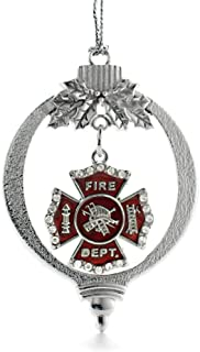 Inspired Silver - Firefighter Badge Charm Ornament - Silver Customized Charm Holiday Ornaments with Cubic Zirconia Jewelry