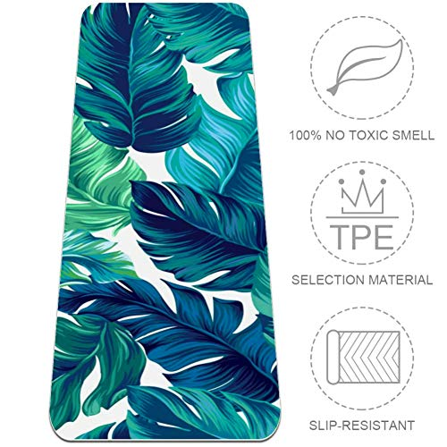 "Watercolor Green Banana Leaf Yoga Mat Workout Mens Yoga Mat Non Slip Thick Floor Exercise Mats Grip Pilates Gyms Yoga Mats for Women 72""x 24"""