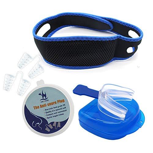 Blauwe Snore Stop Belt Anti Snurken Chin Jaw Strap Sleep Jaw Solution - 4PCS