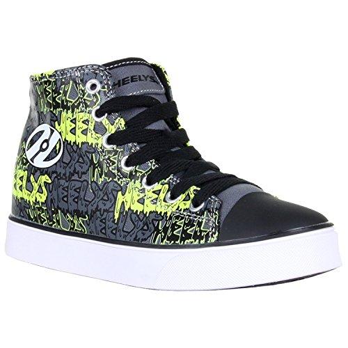 Heelys Hustle | Chaussures à roulettes pour garçons | Noir/Gris/Vert Citron/Graffiti, (EU 31)
