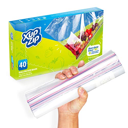 40 x Premium Food Storage Freezer Bags by XupZip | Large UK Gallon Size 4.55L, Reusable, Heavy-Duty Plastic | Airtight and Leakproof Bamboo Seal | BPA Free