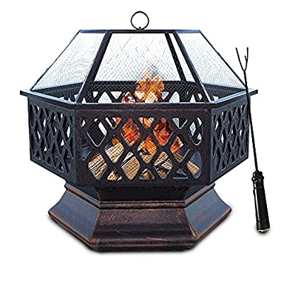 Anbar Outdoor Fire Pit Grill with BBQ Grilling Grate, Large Hexagonal Wood Burning Firepit for Backyard Garden, Patio or Camping, Heavy-Duty Iron, 360° Heat Circulation from Anbar