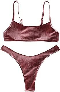 ZAFUL Women's Velvet High Cut Thong Bralette Bikini Set Two Piece Swimsuit