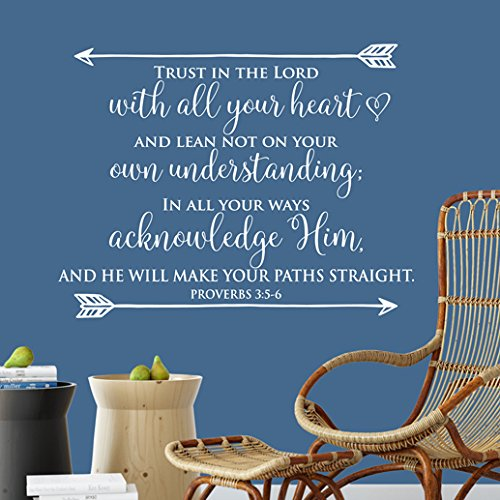 Proverbs 3:5-6 Vinyl Wall Decal 6 by Wild Eyes Signs, Trust in the Lord With all Your Heart, Bible Verse Decor, Arrows Decal, Youth Room, Living Family Room PRO3v6-0006