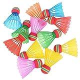 DAWEIF 10 PCS Colorful Badminton Balls EVA Nylon Rainbow Ball Shuttlecocks for Indoor/Outdoor Sports Activities