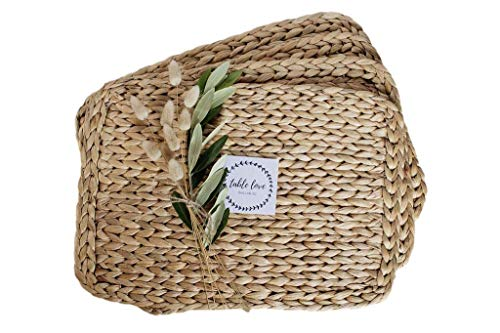 Woven Rectangle Water Hyacinth Straw Table Placemats (Set of 4) 100% Natural Braided Eco Friendly Table Mats / Chargers