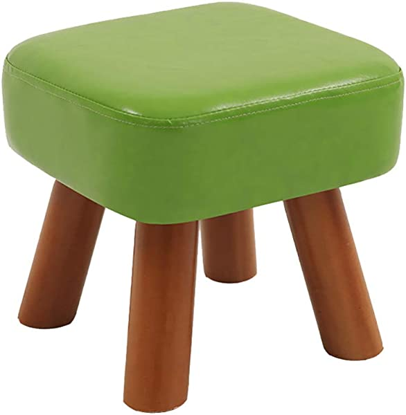 Zenggp Sofa Stool PU Leather Stool Adult Children Bench Home Fashion Living Room Wooden 4Legs Upholstered Safety And Environmental Protection Green 282825cm