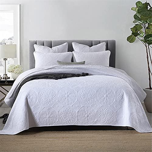 Blanco acolchado king size colcha 230x250cm algodón estilo americano moneda de cobre bordado colchas reversibles lanza una colcha con 2 funda de almohada