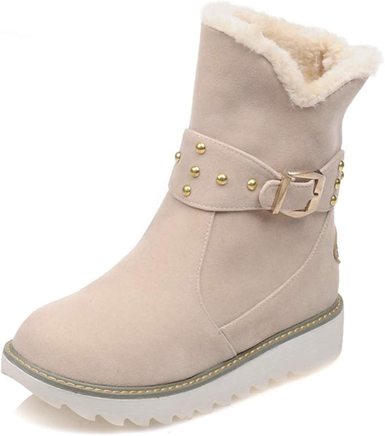 Hoxekle Woman Snow Boots Buckle Rivet Platform Slip On Plush Casual Winter Anti-Slip Round Toe Female Warm Ankle Boots