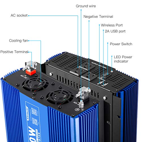 Kinverch 2000W Pure Sine Wave Power Inverter Converts 12V DC to 110V AC with 3 USB Ports and Bluetooth APP Remote Control