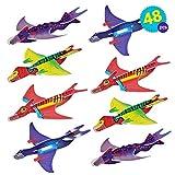 THE TWIDDLERS 48 Aviones planeadores de Dinosaurios - 4 diseños Distintos Detalles de Fiesta, Rellenos de Bolsas de Fiesta, premios de Clase, Rellenos de Calcetines.