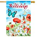 Wamika Poppy Daisy Field Butterfly House Flag 28 x 40 Double Sided Hello Spring Flowers Bee Garden Yard Flags Welcome Spring Summer Outdoor Indoor Banner for Home Decorations