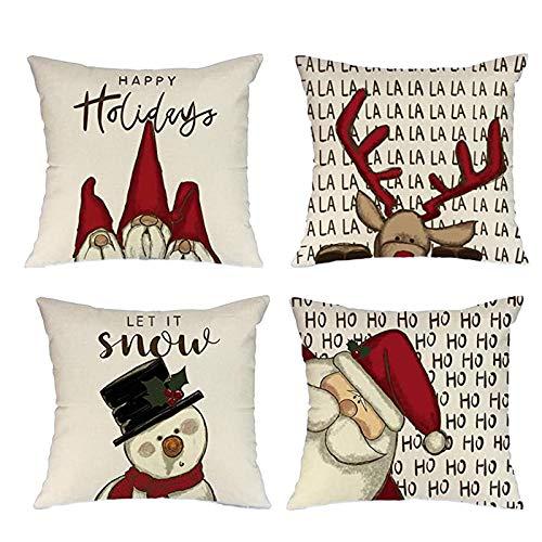 Santa Decoration,Set of 4 Santa Throw Pillow Covers,Christmas Square Pillowcase for Christmas Home Decoration Pillow Case,Christmas Sofa Pillow Case,Christmas Bedroom Decoration,for Christmas Party