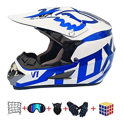 Casco Motocross niño, ECE Certificación Casco de Moto para niños Downhill.Cascos de Cross de Moto Set con Gafas/Máscara/Red Elástica/Guantes (960, S :52-53 cm)