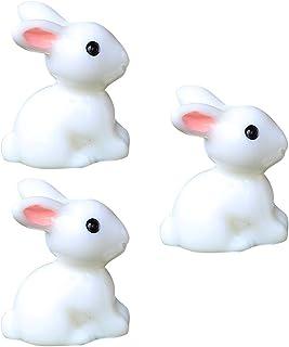 BESTOYARD 20pcs Mini Resin Rabbits Landscape Garden Decoration Plant Pot Fairy Figurine Ornament