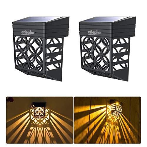 Etlephe Luz Solar Exterior, 2 Unidades LED Iluminacion Exterior Solar Impermeable con...