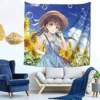 向日葵の少女 ファッション多機能タペストリー家庭飾りタペストリー、軽くて、柔らかくて、丈夫で、洗いやすいです。寮の装飾、内室、ピクニック用の布、廊下の掛け物、テーブルクロス、ベッドカバーなど