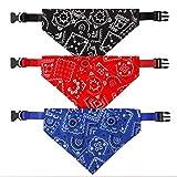 AUXSOUL 3 piezas Collar de Bandana para Perros, Collares y Pañuelos Ajustables para Mascotas, Accesorios de Moda para Perros y Gatos (Traje de Tres piezas M, Rojo, Azul y Negro)