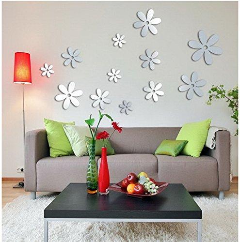 Miroir Fleurs Amovible Wall Sticker Art Acrylique Mural Sticker Mur Décor À La Maison Auto-Adhésif