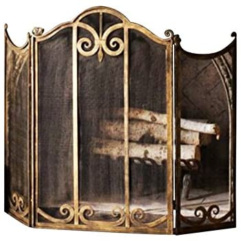 Classic Scroll Antique Gold Iron Fireplace Screen