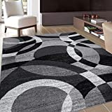 Contemporary Modern Circles Abstract Area Rug 6' 6' X 9' Gray