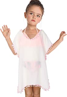 Kid Girls Chiffon Unicorn Cover-up Rainbow Beach Swimsuit Coverup Pompom Tassel