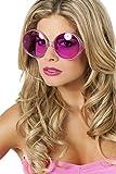Panelize 70er 80er Brille große runde Gläser Hippie Spassbrille Schlagerparty 4 Farben (pink)
