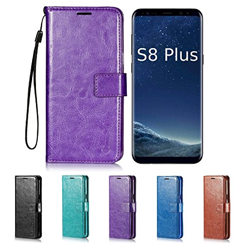 Price comparison product image Galaxy S8 Plus Case,  HLCT PU Leather Case,  with Soft TPU Protective Bumper,  Built-in Kickstand,  Cash and Card Pockets,  for Samsung Galaxy S8 Plus (Purple)