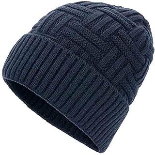 SUN Unisex Hombres Invierno Cálido Sombreros De Punto Criss-Cross Basket Weave Acrílico Baggy Slouchy Beanie Hat Skull Cap (Color : Marina)