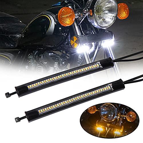 JMTBNO LED Intermitentes Moto Luz de Horquilla Señal de Giro de Moto Flexibles Blanco y Ambar Luces Indicator Moto Luz de Circulación Diurna Impermeable Universal 12V