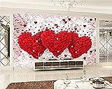 Habitación de matrimonio Pared 3D Amor romántico Corazón Tv Hotel Papel de fondo Papel tapiz de pared Ed Decoración Pared Pintado Papel tapiz 3D Decoración dormitorio Fotomural sala mural-250cm×170cm