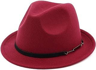 Outdoor Casual Hat Wedding Fascinator Hat Party Hat Men Women Wool Fedora Hat (Color : Wine red, Size : 56-58)