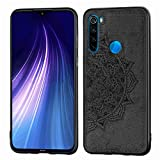 Liluyao Funda telefónica para Xiaomi para la Nota 8 Xiaomi redmi, Pro en Relieve patrón de Mandala de la Caja de TPU PC Tela de teléfono con Correa y Magnética (Color : Black)