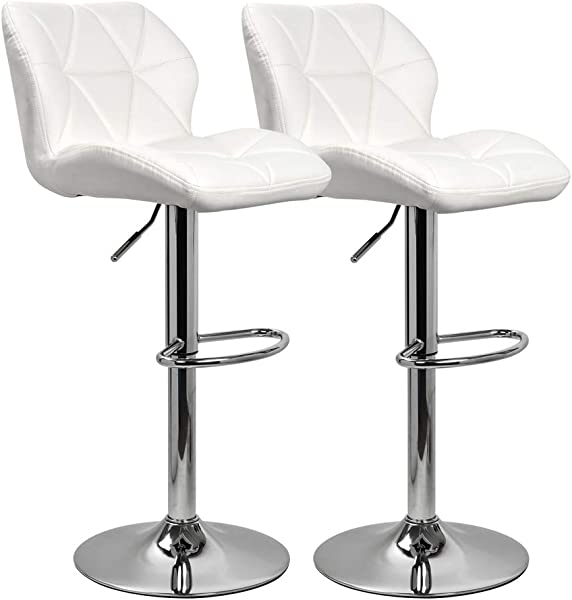 KYOTECH Modern PU Leather Adjustable Swivel Bar Stools With Backs Set Of 2 Home Kitchen Counter Bar Chair White