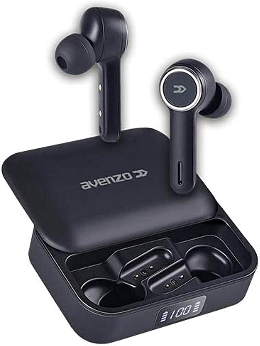 Avenzo - Auriculares Inalámbricos con Bluetooth - AV-TW5007B - con Manos Libres y Puerto USB-C - Asistente de Voz Google y Siri - Funda y Power Bank con Indicador de Carga - Control Táctil