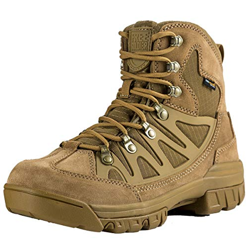 FREE SOLDIER Outdoor Men's Tactical Military Combat Ankle Boots Waterproof Lightweight Mid Hiking Boots (Waterproof Coyote Brown 9.5 M US)