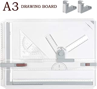 TIMESETL A3 Tablero de dibujo DIN A3 Mesa de dibujo, 51 x 36.5cm simple con accesorios Triángulo de dibujo rápido para la oficina profesional Estudio de trabajo del estudiante