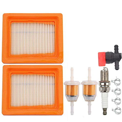 Dalom 2pcs 14 083 15-S XT650 XT675 Air Filter w Fuel Filter Spark Plug for Kohler XT 650 XT 675 Engine Lawn Mower 14 083 16-S