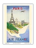 パリ、フランス - エッフェル塔 - エールフランス - ビンテージな航空会社のポスター によって作成された レジス・マンセット c.1947 - アートポスター - 23cm x 31cm