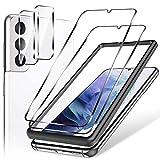 LK 4 Pack Protector de Pantalla Compatible con Samsung Galaxy S21 Plus 5G (6.7 Pulgadas),Contiene 2 Pack Cristal Vidrio Templado y 2 Pack Protector de Lente de Cámara, Doble Protección