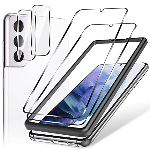 4 Pack LK 2 Pcs Screen Protector Tempered Glass + 2 Pcs Camera Lens Protector Compatible with Samsung Galaxy S21 Plus 5G 6.7-inch, Alignment Frame Easy Installation, 9H, Work Most Cases Model No. ZP G