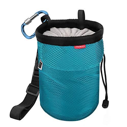 MoKo Bolsillo de Tiza con Cinturón Ajustable y Mosquetón Cordón para Deportes, Bolsa de Magnesio al Aire Libre para Escalada en Roca, Levantamiento de Pesas, Gimnasia - Azul Claro