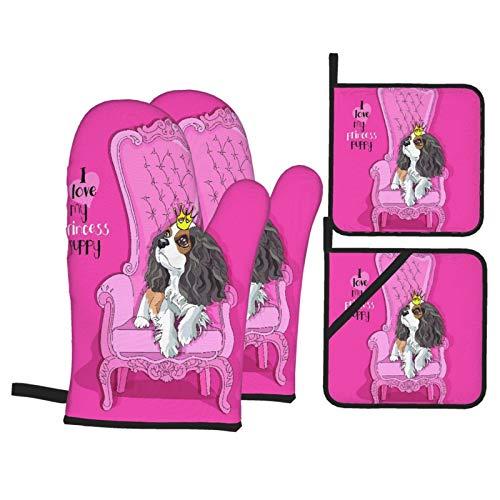 Set di 4 guanti da forno e presine,Cucciolo di Cavalier King Charles Spaniel con corona da principessa su una poltrona rosa,Guanti con cuscinetti caldi resistenti alla fodera trapuntata per cucinare