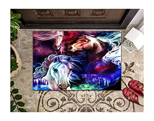 LIFESELAZ Horse Galaxy Magic Art Western Door Mat Western Welcome Mat Decorative Entrance Entry Bathmat Non-Slip Floor Mat Doormats (Multicolor, S (15.75'' x 23.62''))