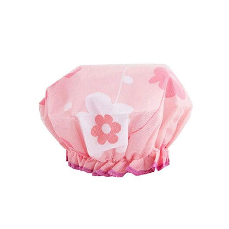 中央年次寛容なJINSHANDIANLIAO シャワーキャップ、大人用シャワー - 防水防塵、再利用可能なシャワーキャップ。 (Color : Pink)